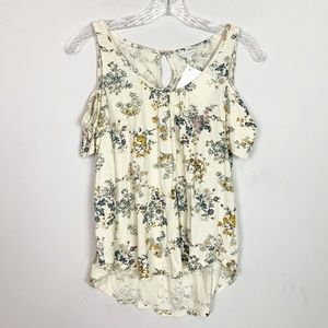 Lucky Brand cream & navy floral cold shoulder top